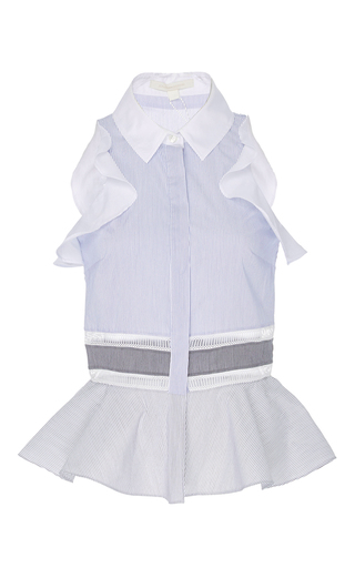 Medium jonathan simkhai blue sleevelss ruffle blouse