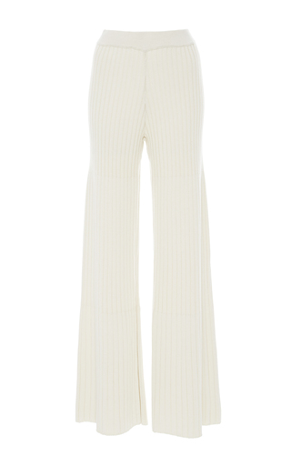 Medium jonathan simkhai ivory wide leg knit pants