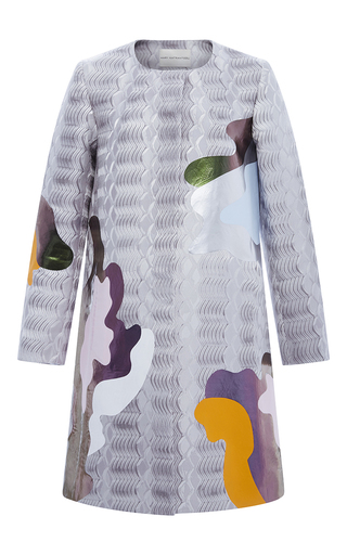 Medium mary katrantzou silver collarless a line jacquard coat