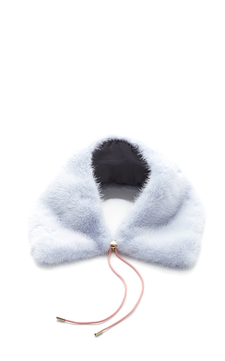 Medium mary katrantzou blue baby blue intarsia mink collar