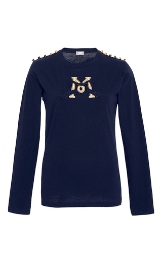 Medium alexis mabille navy embroidered epaulette t shirt