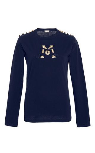 Medium alexis mabille navy embroidered epaulette t shirt