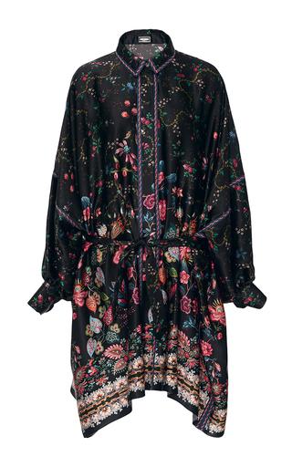 Medium alexis mabille black folk printed silk dolman dress