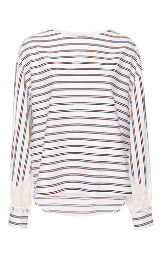 College Striped Lace Bateau Top by ALEXIS MABILLE for Preorder on Moda Operandi