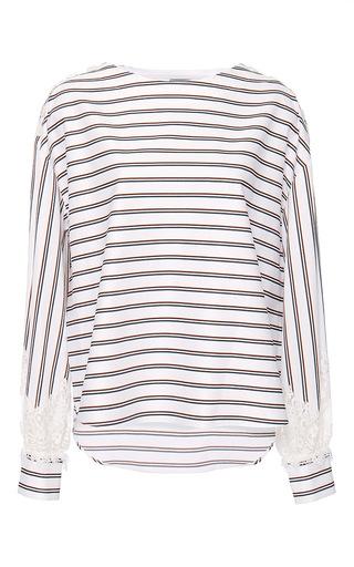 Medium alexis mabille white college striped lace bateau top