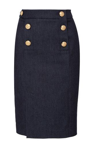 Medium alexis mabille blue fitted denim button skirt