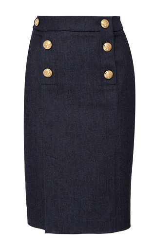 Medium alexis mabille blue fitted denim button skirt