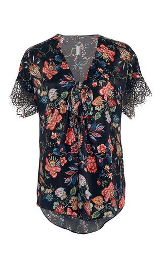 Medium alexis mabille black folk printed silk blouse
