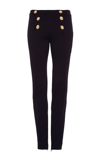 Medium alexis mabille black textured fitted button pants