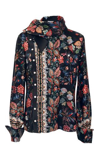 Medium alexis mabille black folk printed silk scarf blouse