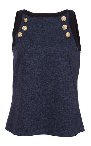 Medium alexis mabille navy button denim jersey top