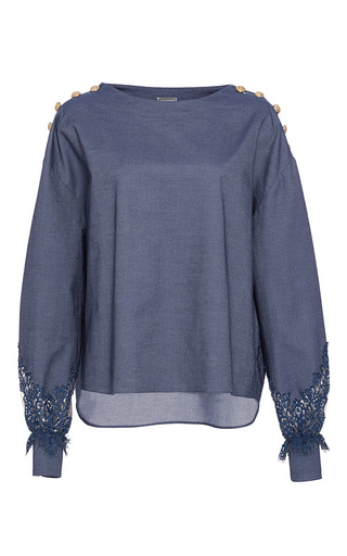 Medium alexis mabille blue chambray lace bateau top
