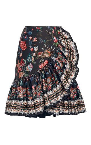 Medium alexis mabille black folk printed cotton ruffle skirt