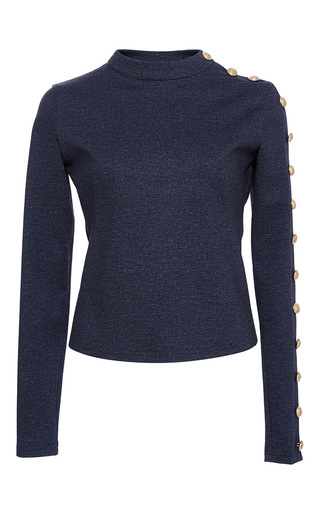 Medium alexis mabille navy denim jersey buttoned top