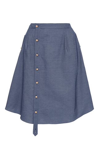 Medium alexis mabille blue button up chambray skirt