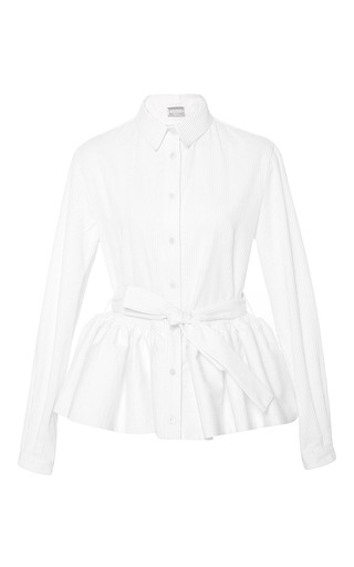 Medium alexis mabille white pleated peplum button up shirt