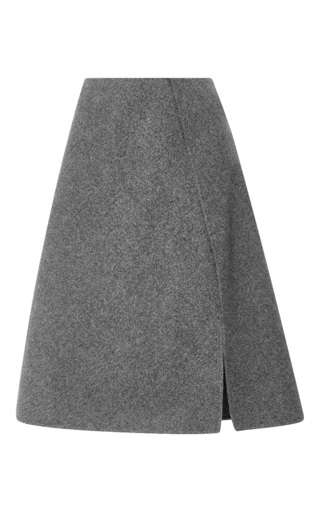 Medium rochas light grey chevron wool skirt