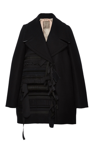 Medium no 21 black ribbon embellished oversized coat