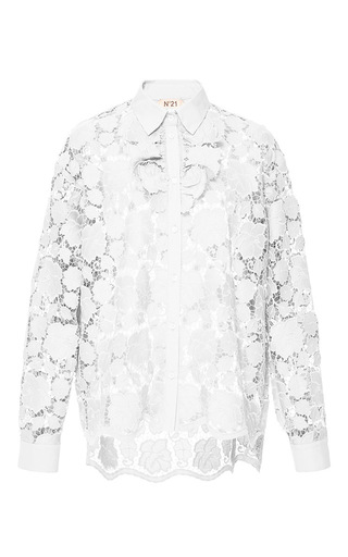 Medium no 21 white white large scale lace button up shirt