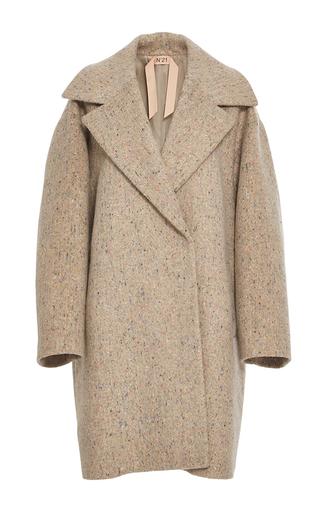 Medium no 21 tan oversized tweed coat