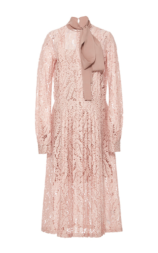 Medium no 21 pink lace tie neck dress