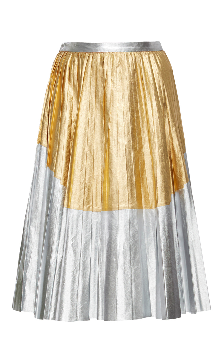 metallic leather pleated skirt by n 176 21 moda operandi