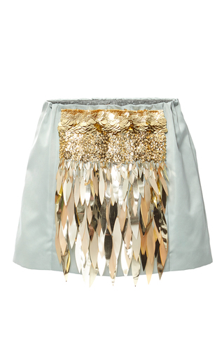 Medium no 21 white paillette embellished mini skirt