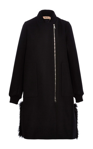 Medium no 21 black oversized quilted and fur trimmed coat