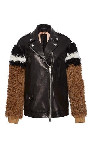 Medium no 21 black shearling detailed biker jacket