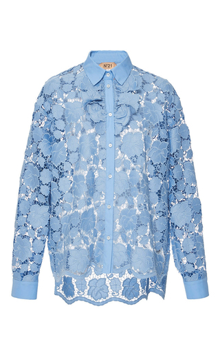 Medium no 21 blue lace button up shirt
