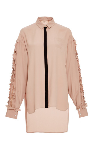 Medium no 21 pink ruffle embellished silk blouse