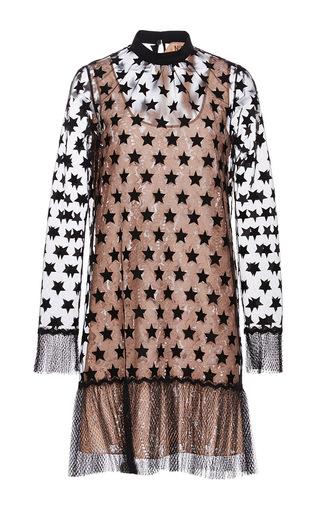 Medium no 21 black star organza and lace mini dress