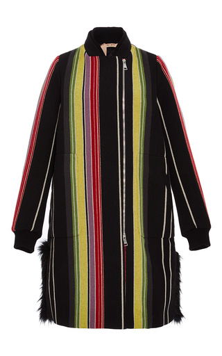 Medium no 21 black fur trim striped coat