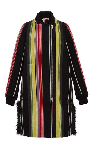 Medium no 21 black fur trim striped coat