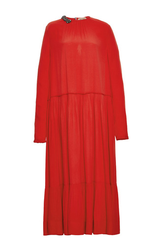Medium no 21 red beaded embellished midi dress