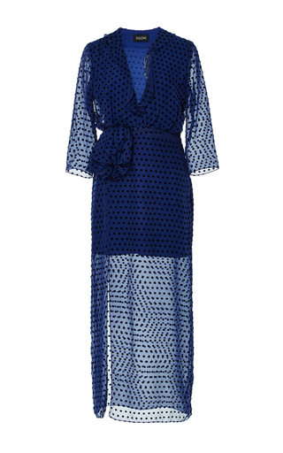 Medium saloni navy jennifer b dotted dress