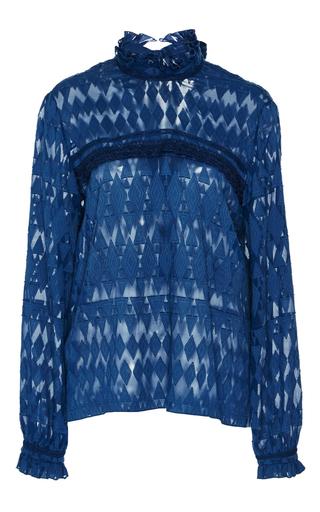 Medium saloni navy emile ruffle blouse