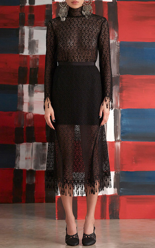 Mia Fringed Lace Top by SALONI Now Available on Moda Operandi