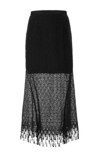 Medium saloni black bibi fringed lace skirt