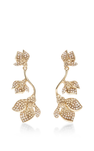 Medium oscar de la renta gold gold gradient crystal flower earring