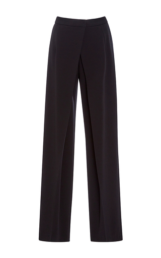 Medium alberta ferretti black stretch gabardine wrap trouser
