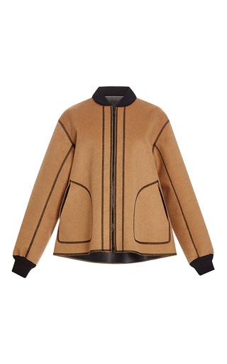 Medium alberta ferretti tan reversible camel felt seam jacket