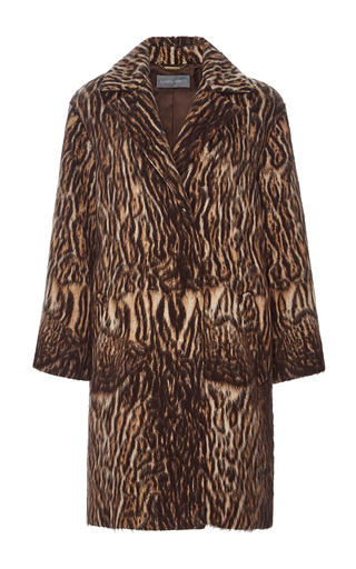 Medium alberta ferretti brown animal jacquard coat