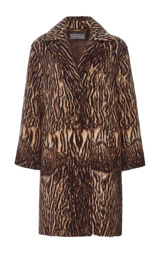 Medium alberta ferretti brown animal jacquard coat
