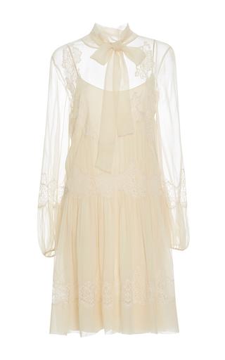 Medium alberta ferretti ivory lace chiffon blouson dress
