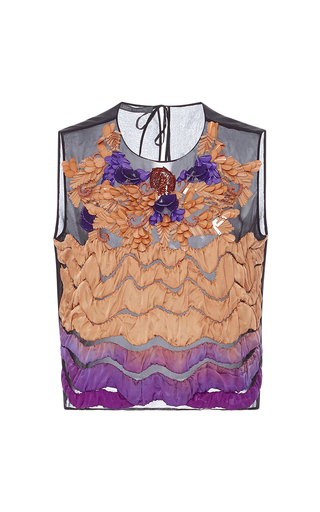 Medium alberta ferretti purple embellished tulle top