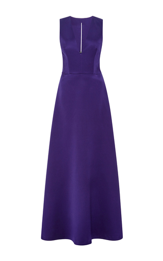Medium alberta ferretti blue silk satin v neck gown