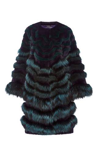 Medium alberta ferretti blue fur intarsia degrade coat