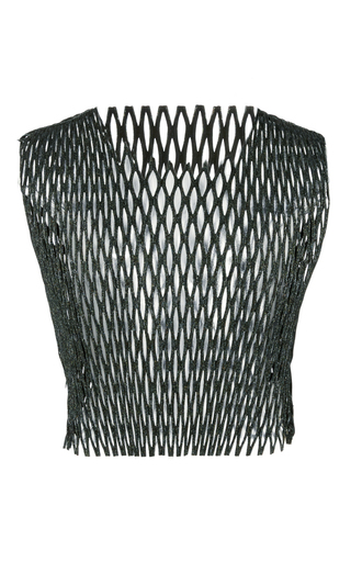 Medium ellery green weaver fishnet crop top