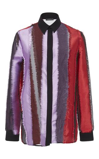 Medium versace multi frayed sheer button up shirt